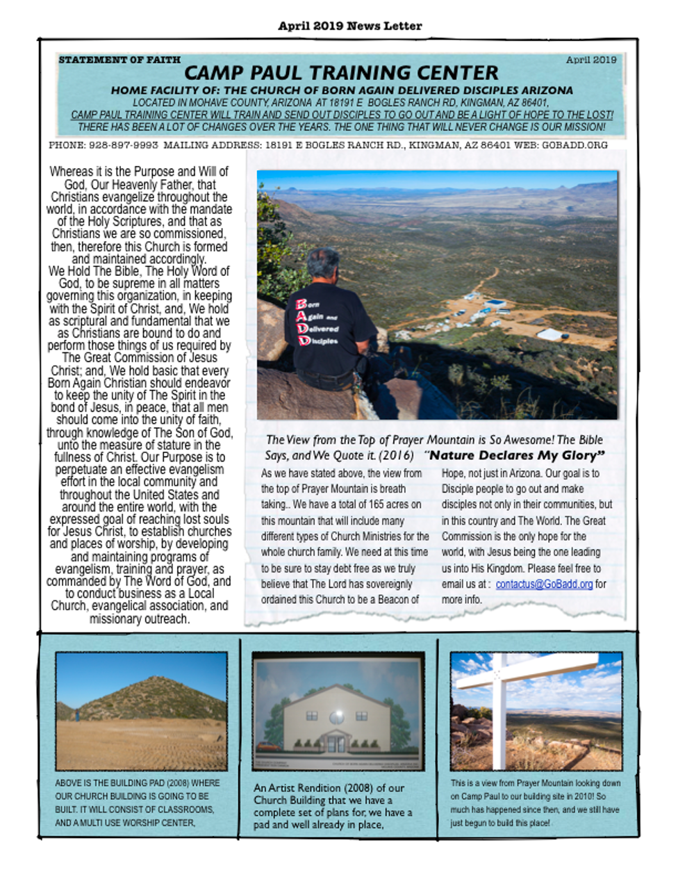 statement of faith and recent newsletters | Camp Paul